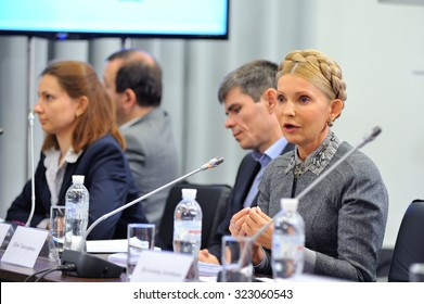 KIEV, UKRAINE - OCTOBER 2, 2015: Yulia Tymoshenko - Ukrainian politician and businesswoman - at a press conference claims that «Naftohaz of Ukraine» must be eliminated