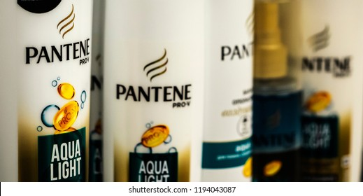 KIEV, UKRAINE- October 2, 2018: Pantene Pro-V Shampoo in Ukranian store. Pantene is an American brand of hair care products owned by Procter & Gamble