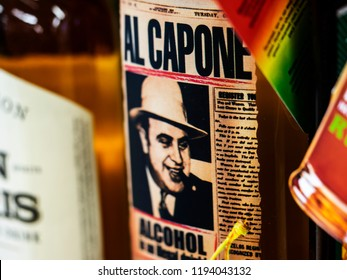 KIEV, UKRAINE- October 2, 2018: Alcoholic drink Al Capone in store. Ukranian brand