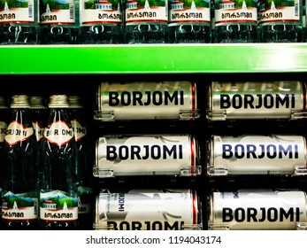 KIEV, UKRAINE- October 2, 2018: Sparkling medical-table water Borjomi in Ukranian store.Borjomi is a brand of naturally carbonated mineral water from springs in the Borjomi Gorge of central Georgia.