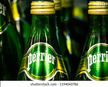 KIEV, UKRAINE- October 2, 2018: Perrier Naturally Sparkling Water in store. Perrier is a French brand of natural bottled mineral water captured at the source in Vergeze, located in Gard département