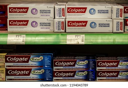 KIEV, UKRAINE- October 2, 2018: Colgate Toothpaste in Ukranian store. Colgate is an umbrella brand principally used to purchase oral hygiene products such as toothpastes, toothbrushes, mouthwashes