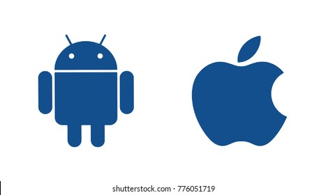 Kiev, Ukraine - October 20, 2017: Popular operating system logos printed on paper: Android and Apple.  Android - the operating system. Apple is an American corporation, that develops.