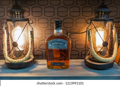 KIEV, UKRAINE - OCTOBER 20, 2018: Jack Daniels Gentleman Jack Tennessee straight bourbon whisky bottle booth at 4th Ukrainian Whisky Dram Festival by Good Wine company in Artistic Arsenal.