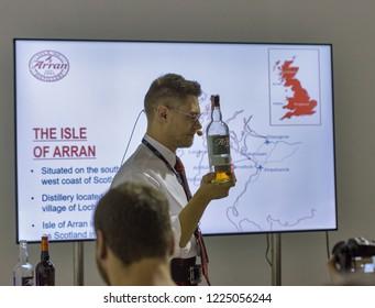 KIEV, UKRAINE - OCTOBER 20, 2018: Andrew Bell presents The Arran Scottish single malt whisky at 4th Ukrainian Whisky Dram Festival organized by Good Wine company in Artistic Arsenal.