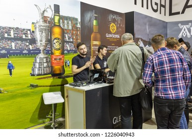 KIEV, UKRAINE - OCTOBER 20, 2018: People visit Glen Scotia Scotch single malt whisky booth at 4th Ukrainian Whisky Dram Festival organized by Good Wine company in Artistic Arsenal.
