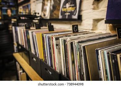 KIEV, UKRAINE - October 2017: Vinyl shop in Kiev, Ukraine. Collection of LP vinyl records for sale in music shop in Kiev, Ukraine