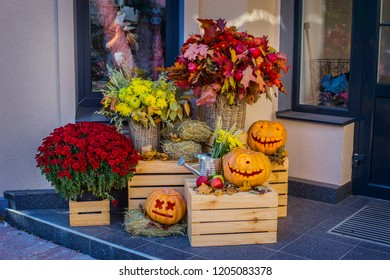 KIEV, UKRAINE - October 2018: Helloween pumpkin decoration. Helloween party. Helloween celebration attributes.