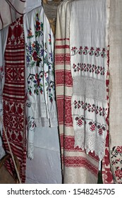 Kiev, Ukraine - October 2018.  Icon and old towel in an old rural house. Ukrainian village. Fragment of the interior of a typical old traditional Ukrainian house in the ancient Ukrainian village.