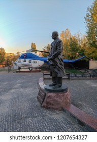 Kiev - Ukraine - october 2018: Monument to Igor Sikorsky, in whose honor the institution, established on the territory of the Kiev Polytechnic Institute, is named.Sikorsky - inventor of helicopter.