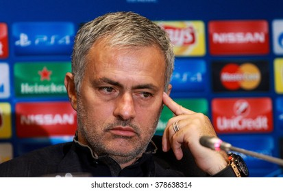 KIEV, UKRAINE - October 20th,  2015: The head coach of Chelsea Jose Mourinho after the UEFA Champions League game with DYNAMO KIEV at NSC Olimpiyskiy stadium