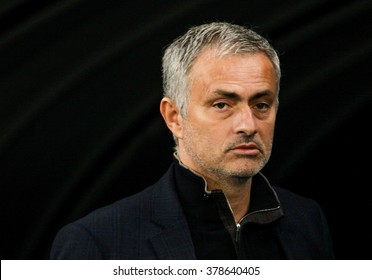 KIEV, UKRAINE - October 20th,  2015: The head coach of Chelsea Jose Mourinho on UEFA Champions League game with DYNAMO KIEV at NSC Olimpiyskiy stadium