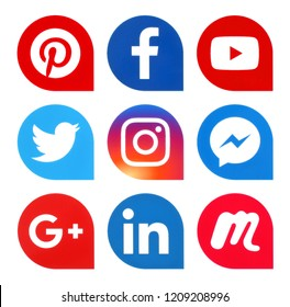 Kiev, Ukraine - October 22, 2018: Popular social media icons such as: Facebook, Twitter, pinterest, LinkedIn and others, printed on white paper.