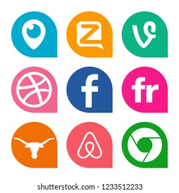 Kiev, Ukraine - October 25, 2018: Set of popular social media icons printed on white paper: Periscope, Zello, Vine, Dribbble, Facebook, Flickr, Google Chrome, Airbnb, Texas.