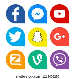 Kiev, Ukraine - October 25, 2018: Set of popular social media icons printed on white paper: Facebook, Messenger,  YouTube, Twitter, Snapchat, Google Plus, Zello, Vine, Viber.