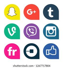 Kiev, Ukraine - October 25, 2018: Set of popular social media icons printed on white paper: Snapchat, Google Plus, Tumblr, Vine, Viber, Instagram, Flickr, Uber, Facebook.