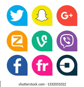 Kiev, Ukraine - October 25, 2018: This is a photo set of popular social media icons printed on white paper: Snapchat, Google Plus, Vine, Viber, Flickr, Uber, Zello, Facebook.