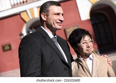 Kiev, UKRAINE - October 26, 2014 : Vitali Klitschko, current Major of Kiev, talking to journalist afte vote at the Ukrainian Parliamentary Election in Kiev, Ukraine