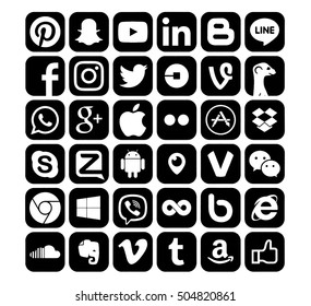 Kiev, Ukraine - October 26, 2016: Set of most popular social media icons: Pinterest, Twitter, YouTube, WhatsApp, Snapchat, Facebook,Skype, Instagram, Android,, Viber and others logos printed on paper.