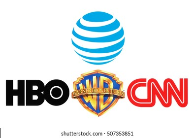 Kiev, Ukraine - October 26, 2016: Collection of popular logos of AT&T Inc., Warner Bros, HBO and CNN on white paper