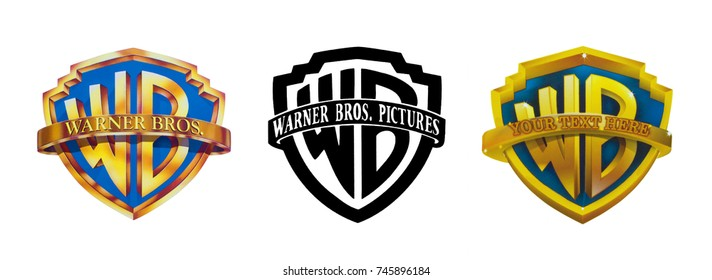 Kiev, Ukraine - October 26, 2017: Set of the famous film studios logos - Warner Brothers, printed on paper and placed on a white background.