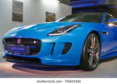 "KIEV, UKRAINE - OCTOBER 27, 2017: Blue modern Jaguar F-TYPE on the art exhibition ""Jaguar. The Art of Performance"" in Business Center Toronto."