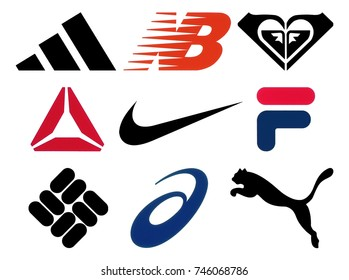 Kiev, Ukraine - October 27, 2017: Set of popular sportswear manufactures logos printed on paper: Adidas, New Balance, Roxy, Reebok, Nike, Fila, Columbia, Asics and Puma.
