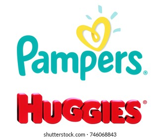 Kiev, Ukraine - October 27, 2017: Collection of popular baby diapers brands: Pampers and Huggies, printed on white paper