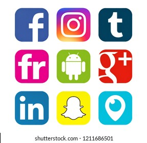 Kiev, Ukraine - October 29, 2017: This is a photo set of popular social media icons printed on white paper: Facebook, Instagram, Snapchat, Google Plus, Periscope, Linkedin, Android,  Tumblr, Flickr.