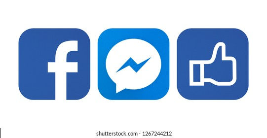 Kiev, Ukraine - October 29, 2017: Set of popular social media icons printed on white paper: Facebook, Messenger.