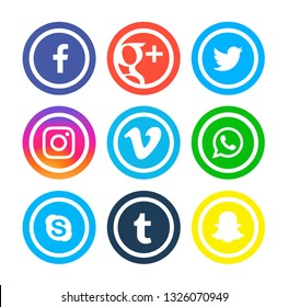 Kiev, Ukraine - October 29, 2017: Set of popular social media icons printed on white paper: Facebook, Twitter, Linkedin, Instagram, WhatsApp,  Google Plus, Snapchat, Tumblr, Skype, Vimeo.