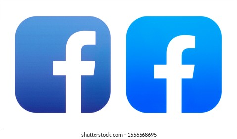 Kiev, Ukraine - October 29, 2019: Old and New icons of Facebook App, printed on white paper. Facebook is a well-known social networking service.