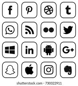 Kiev, Ukraine - October 5, 2017: Collection of popular social media logos printed on paper: Facebook, Twitter, Google Plus, Instagram, Pinterest, LinkedIn and others.