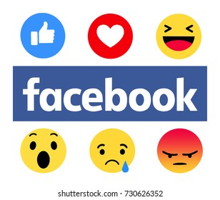 Kiev, Ukraine - October 5, 2017: New Facebook like button 6 Empathetic Emoji. Printed on paper. Facebook is an online social networking service.