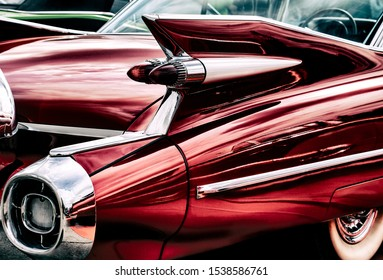 KIEV, UKRAINE - October 6, 2019: american car red Cadillac De Ville on Old Car Land auto show in State Aviation Museum in Kiev