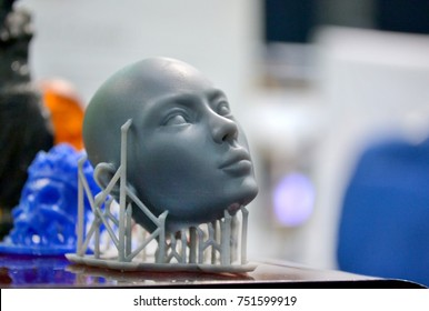 Kiev, Ukraine October 7, 2017: - Objects photopolymer printed on stereolithography 3D printer, technology of liquid photopolymerization under UV light. Progressive modern additive technology.