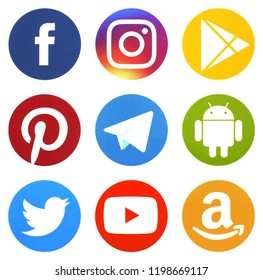 KIEV, UKRAINE - October 7,  2018: This is a photo collection of popular social media logos printed on paper: Facebook, Twitter, LinkedIn, Pinterest, Instagram, Youtube, Line and other