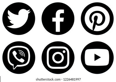 KIEV, UKRAINE - October 8,  2018: This is a photo collection of popular social media logos printed on paper: Facebook, Twitter, LinkedIn, Pinterest, Instagram, Youtube, Line and other