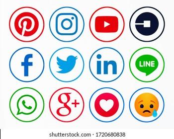 Kiev, Ukraine - Octoberber 09, 2019: New Facebook, like button  Empathetic Emoji reactions,Twitter,Instagram, YouTube, Pinterest, Uber, LInkedIn, Line, WhatsApp, Google Plus,  printed on paper.