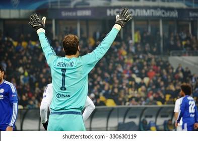KIEV, UKRAINE - OKT 20: Goalkeeper Asmir Begovic in action during the UEFA Champions League match between Dinamo Kiev vs Chelsea (London, England), 20 October 2015, Olympic NSC, Ukraine
