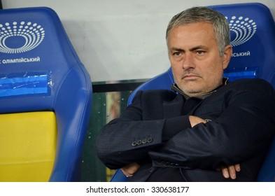 KIEV, UKRAINE - OKT 20: Head coach of Chelsea manager Jose Mourinho during the UEFA Champions League match between Dinamo Kiev vs Chelsea (London, England), 20 October 2015, Olympic NSC, Ukraine