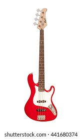 KIEV, UKRAINE - OKTOBER 27, 2015: red four-stringed electric bass guitar isolated on white