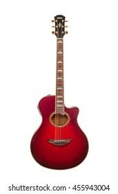 KIEV, UKRAINE - OKTOBER 27, 2015: red six-stringed acoustic guitar Yamaha isolated on white