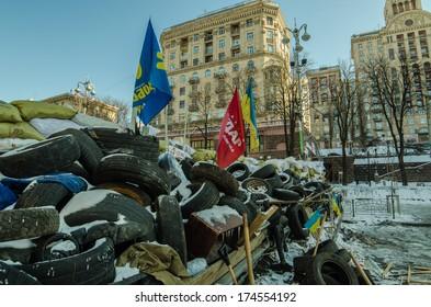 KIEV, UKRAINE ON 31 JANUARY 2014: Maidan protests on 31 January 2014 in Kiev, Ukraine