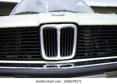 Kiev, Ukraine, on May 11, 2019. Chrome nostrils and plastic grille of a car BMW E21 316.