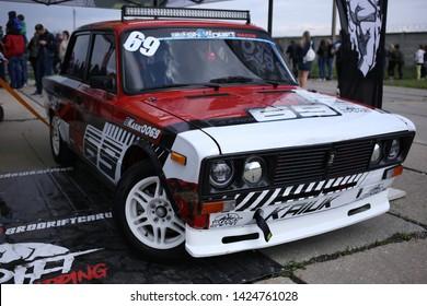 Kiev, Ukraine, on May 11, 2019. Soviet car Lada 2106 is prepared for drift.