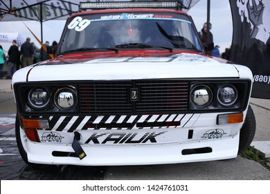 Kiev, Ukraine, on May 11, 2019. Front view of the car for drift Lada 2106.