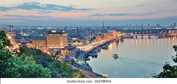 Kiev. Ukraine. Panorama at night Kiev.