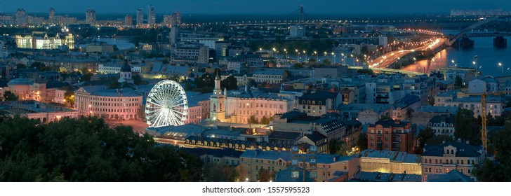 Kiev. Ukraine. Panorama of night Kiev, overlooking the historic part of Kiev - Podil.