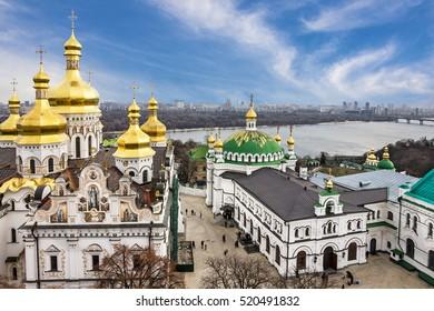 Kiev, Ukraine. Pechersk Lavra Monastery and river Dniepr panoramic city view